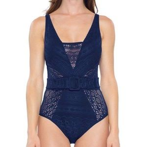 Becca Navy Crochet Belted One Piece Swimsuit NWT